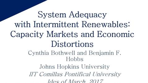 Miniatura para la entrada Aula de investigación B. Hobbs 2017/03/15: Crediting Renewables in Electricity Capacity Markets:The Effects of Alternative Definitions upon Market Efficiency