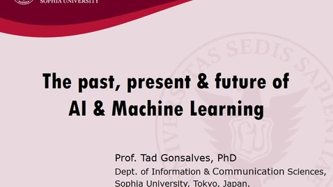 Miniatura para la entrada Seminario divulgativo Tad Gonsalves 04/09/2019: The past, present and future of AI and Machine Learning