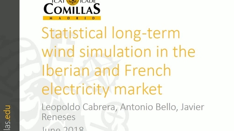 Miniatura para la entrada Presentación de Trabajo de Investigación  Leopoldo Cabrera 06/06/2018: Statistical long-term wind simulation in the Iberian and French Electricity System