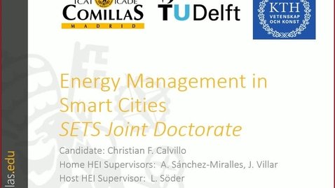 Miniatura para la entrada Presentación de tesis doctoral al IIT Christian Calvillo 03/05/2017: Energy Management in Smart Cities