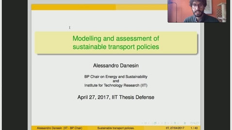 Miniatura para la entrada Presentación de tesis doctoral al IIT Alessandro Danesin 27/04/2017: Modelling and Assessment of Sustainability in Transport Policies