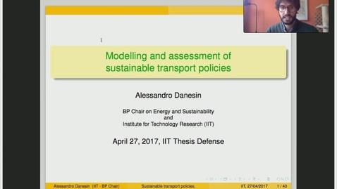 Miniatura para la entrada Presentación de tesis doctoral al IIT Alessandro Danesin 27/04/2017: Modelling and Assessment of Sustainability in Transport Policies