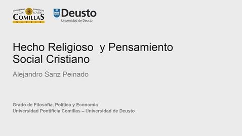 Alejandro Sanz Peinado – Hecho Religioso  y Pensamiento Social Cristiano