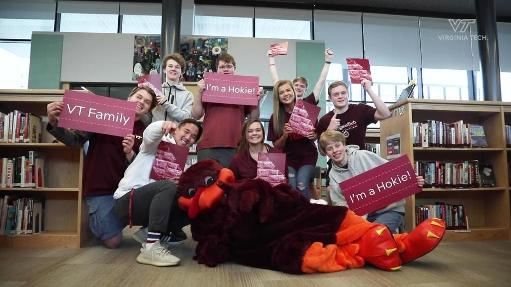 HokieBird surprises Blacksburg High School students