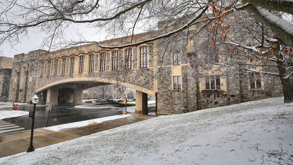 Snow adorns Blacksburg campus