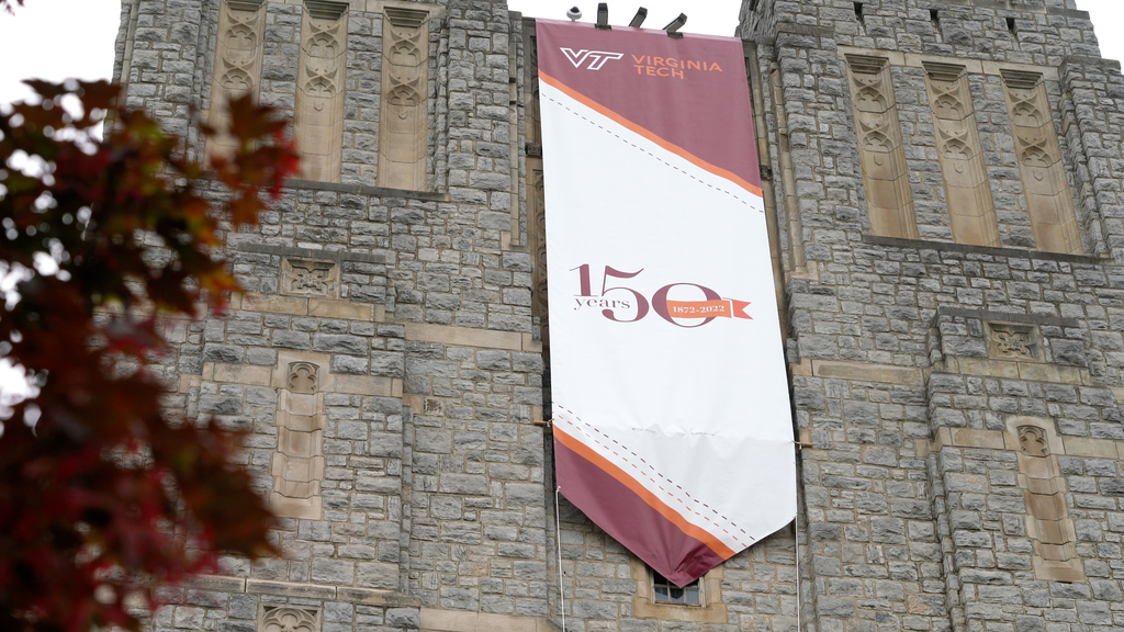 Flags and banners installed in observance of  sesquicentennial celebration