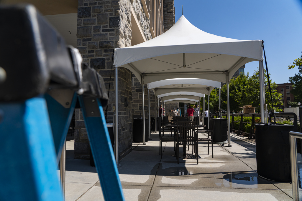 Installing tents to give Hokies more space on campus