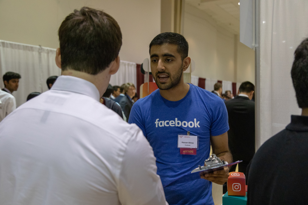 Computer science students attend career fair featuring employers like Amazon, Microsoft