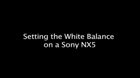 Setting the White Balance on a Sony NX5