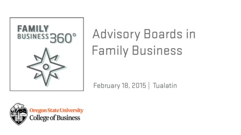 Family Business 360 - Advisory Boards for Family Business