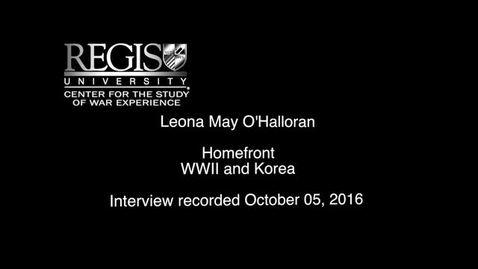 Thumbnail for entry Leona May O'Halloran Interview
