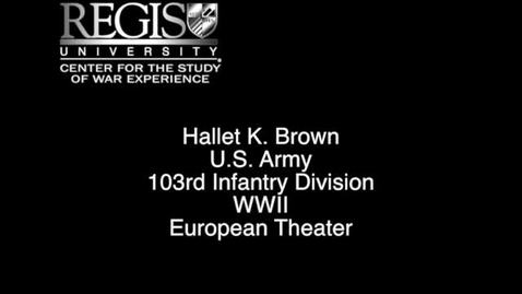 Thumbnail for entry Hallet K. Brown Interview