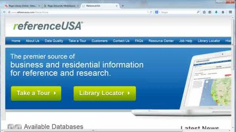 Thumbnail for entry Reference USA business directory search example