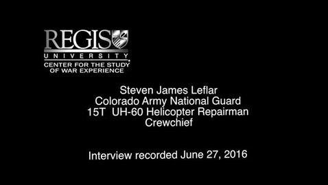 Thumbnail for entry Steven James Leflar Interview