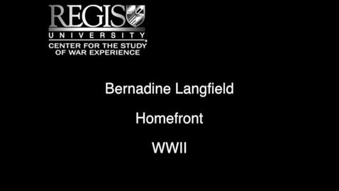 Thumbnail for entry Bernadine Langfield Interview