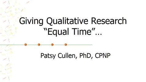 Thumbnail for entry Giving Qualitative Research Equal Time_2019