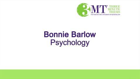 Three Minute Thesis Challenege - Bonnie Barlow - 2016