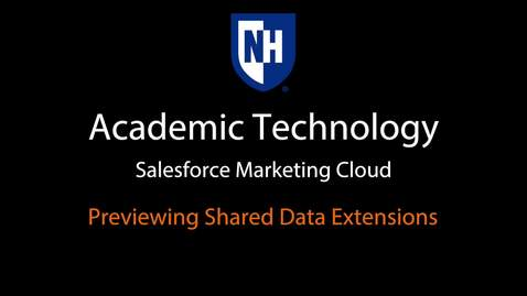 SFMC - Previewing Shared Data Extensions