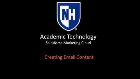 SFMC - Creating Email Content  - March 2018