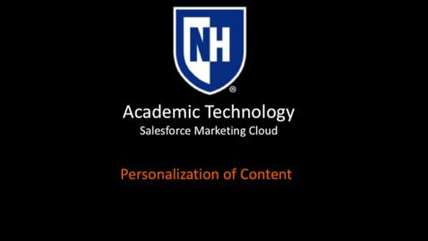 SFMC - Personalization of Content - March 2018