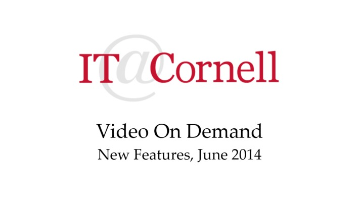 VOD New Features June 2014