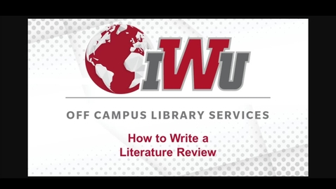Thumbnail for entry How to Write a Literature Review