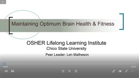 Thumbnail for entry Optimum Brain Health & Fitness, No. 4: Exercise and Nutrition
