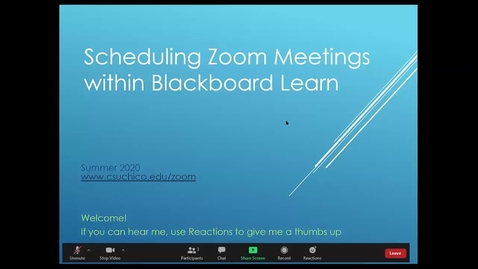Thumbnail for entry Scheduling Zoom Meetings Within Blackboard Learn