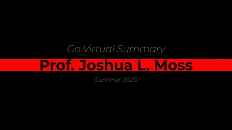 Thumbnail for entry Go Virtual Institute Summer Workshop Video - Joshua Moss