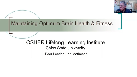 Thumbnail for entry Maintaining Optimum Brain Health & Fitness, No. 1:  Brain Basics