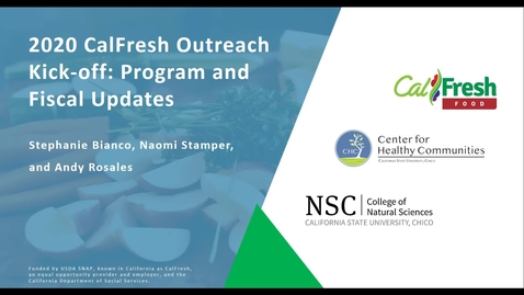 Thumbnail for entry CalFresh Outreach - Year 2 Kick-Off_ Program and Fiscal original video