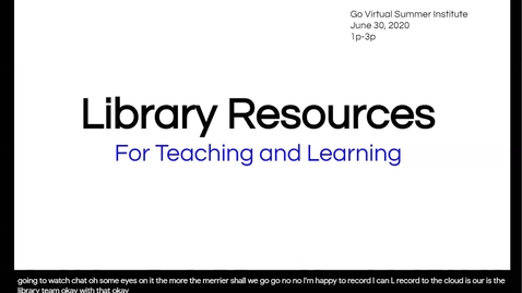 Thumbnail for entry Library Resources for Teaching and Learning