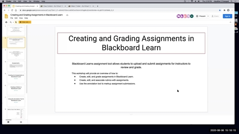 Thumbnail for entry TLP Workshop: Creating and Grading Assignments in Blackboard Learn (Assignments, Rubrics, Annotate)