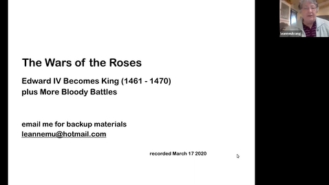 Thumbnail for entry The Wars of the Roses: Edward IV Becomes King (1461-1470) (Session 7)