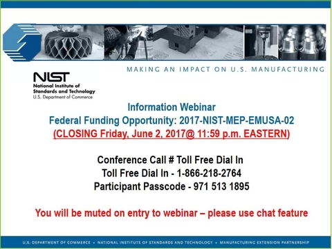 Embedding MEP in Manufacturing USA Institutes Pilot Projects Round 3 Informational Webinar 04-19-17