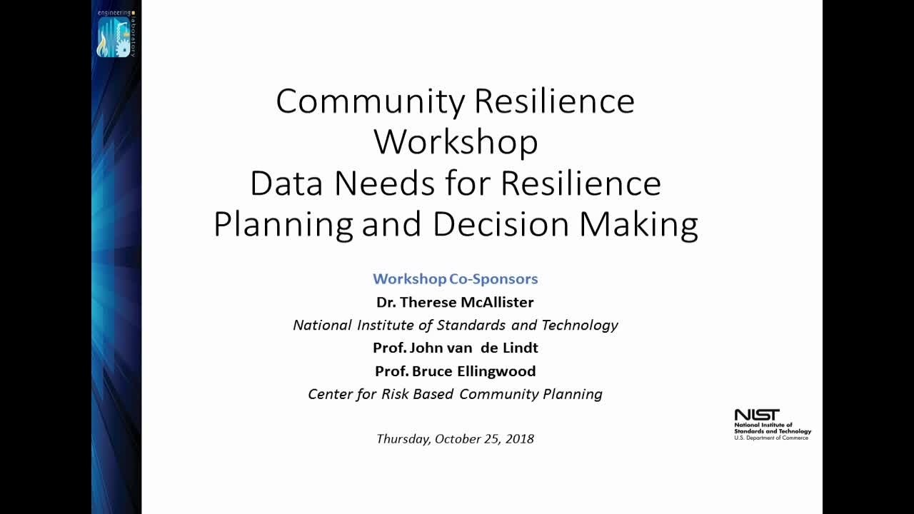 Opening Remarks - 2018 Community Resilience Data Workshop