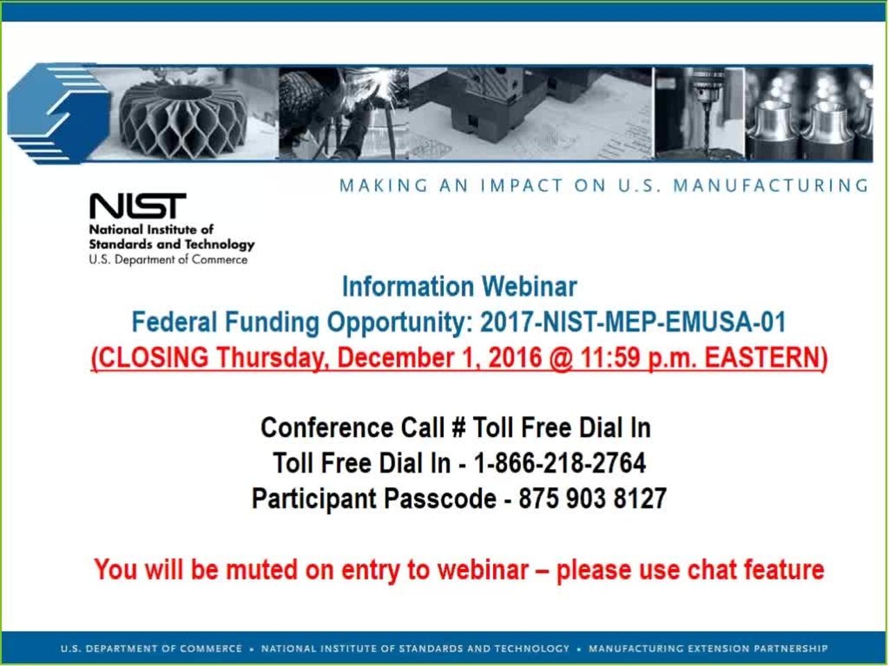Embedding MEP into Manufacturing USA Institutes FFO Round 2 Webinar 11-02-2016