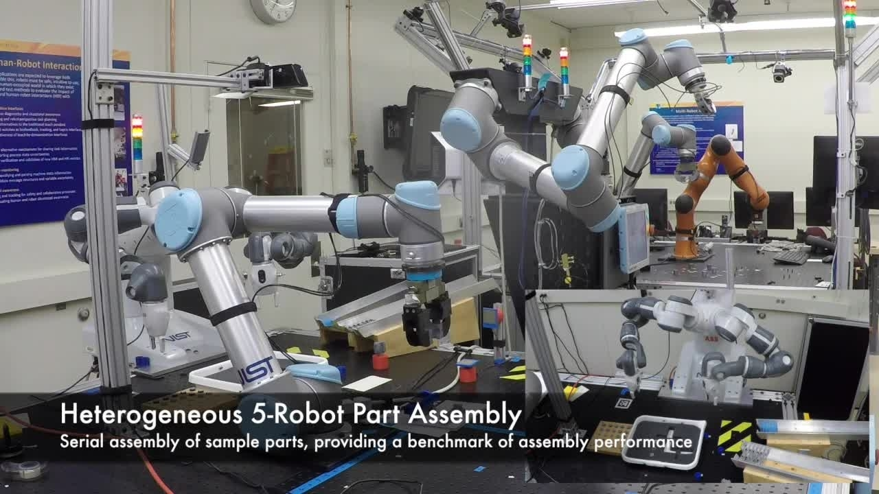 Coordinated assembly in a heterogeneous robotic work cell