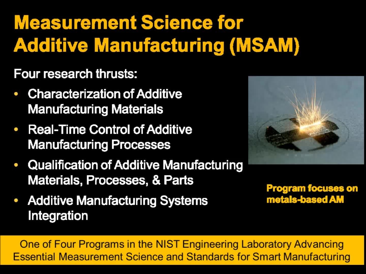 Overview of the Measurement Science for Additive Manufacturing (MSAM) Program