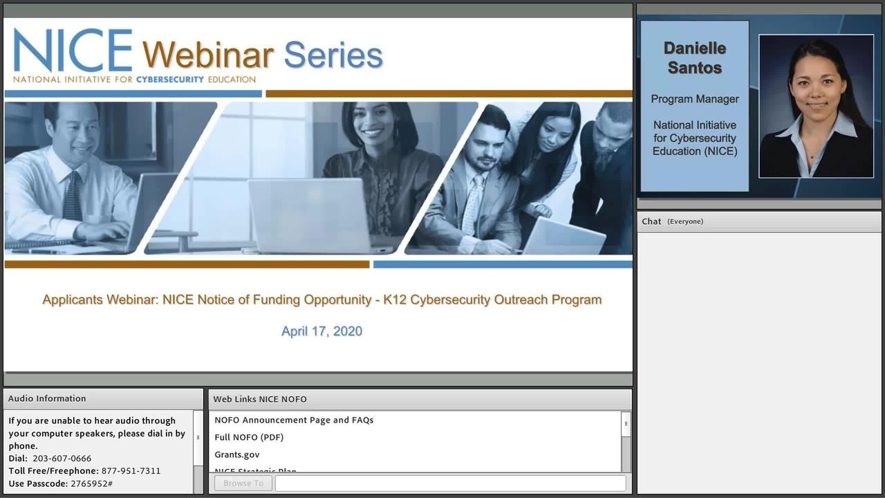 NICE Webinar:  Applicants Webinar -  NICE Notice of Funding Opportunity K12 Cybersecurity Outreach Program