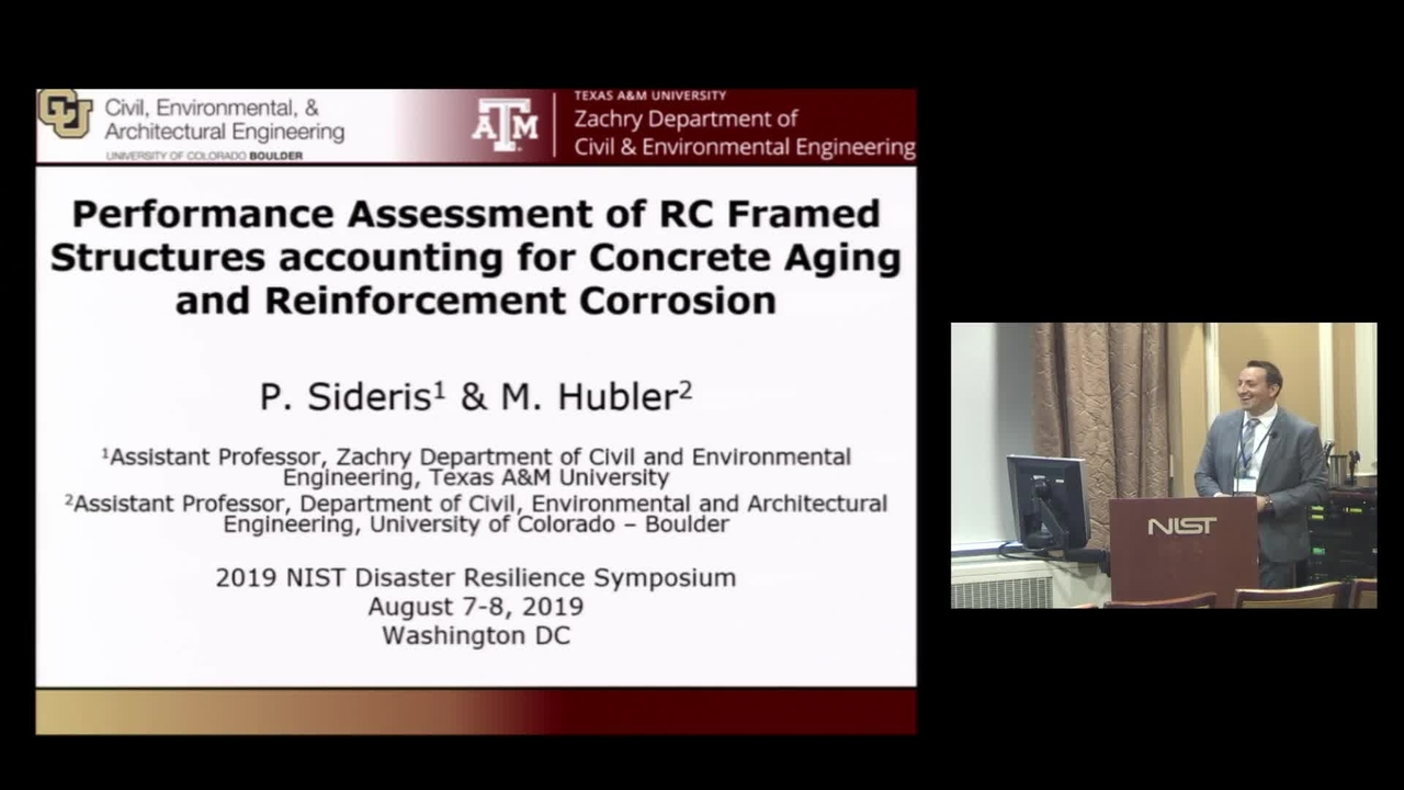 Performance Assessment of RC Framed Structures Accounting for Concrete Aging and Reinforcement Corrosion: 2019 Disaster Resilience Symposium