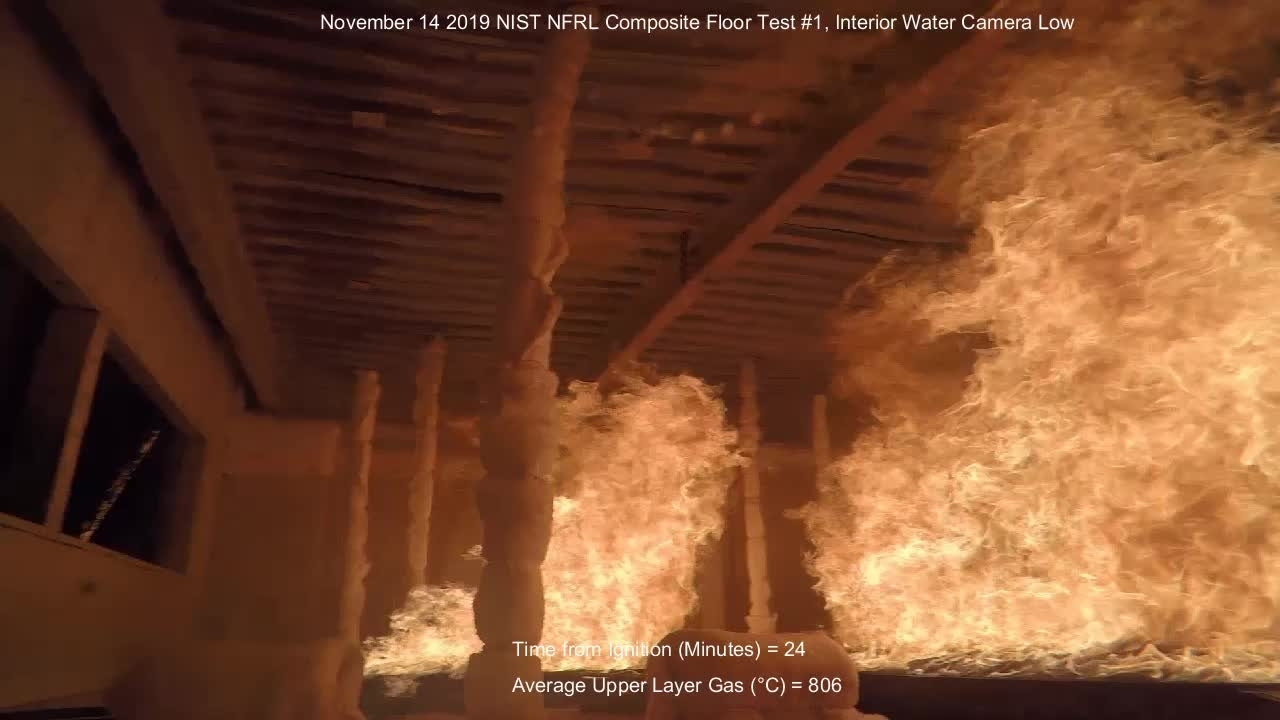 Fire Resilience of a Full-Scale Steel-Concrete Composite Floor System with 2-Hour Fire-Resistance Designed using U.S. Prescriptive Approach - Interior Water Camera