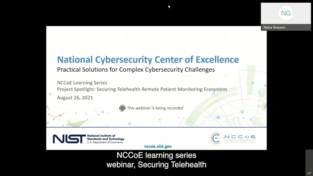 NCCoE Learning Series Webinar Project Spotlight: Securing Telehealth Remote Patient Monitoring Ecosystem