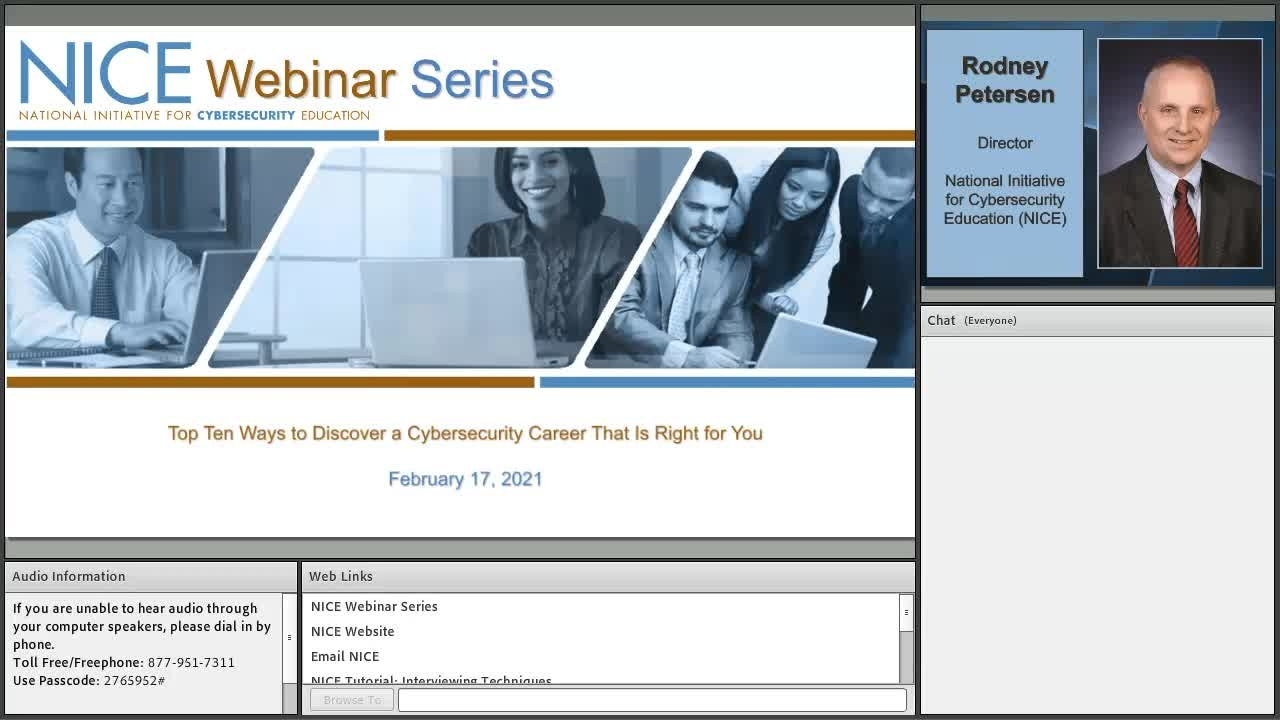 NICE Webinar: Top Ten Ways to Discover a Cybersecurity Career That Is Right for You