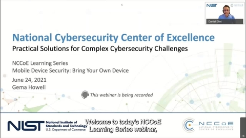 NCCoE Learning Series Webinar: Mobile Device Security—Bring Your Own Device (BYOD)
