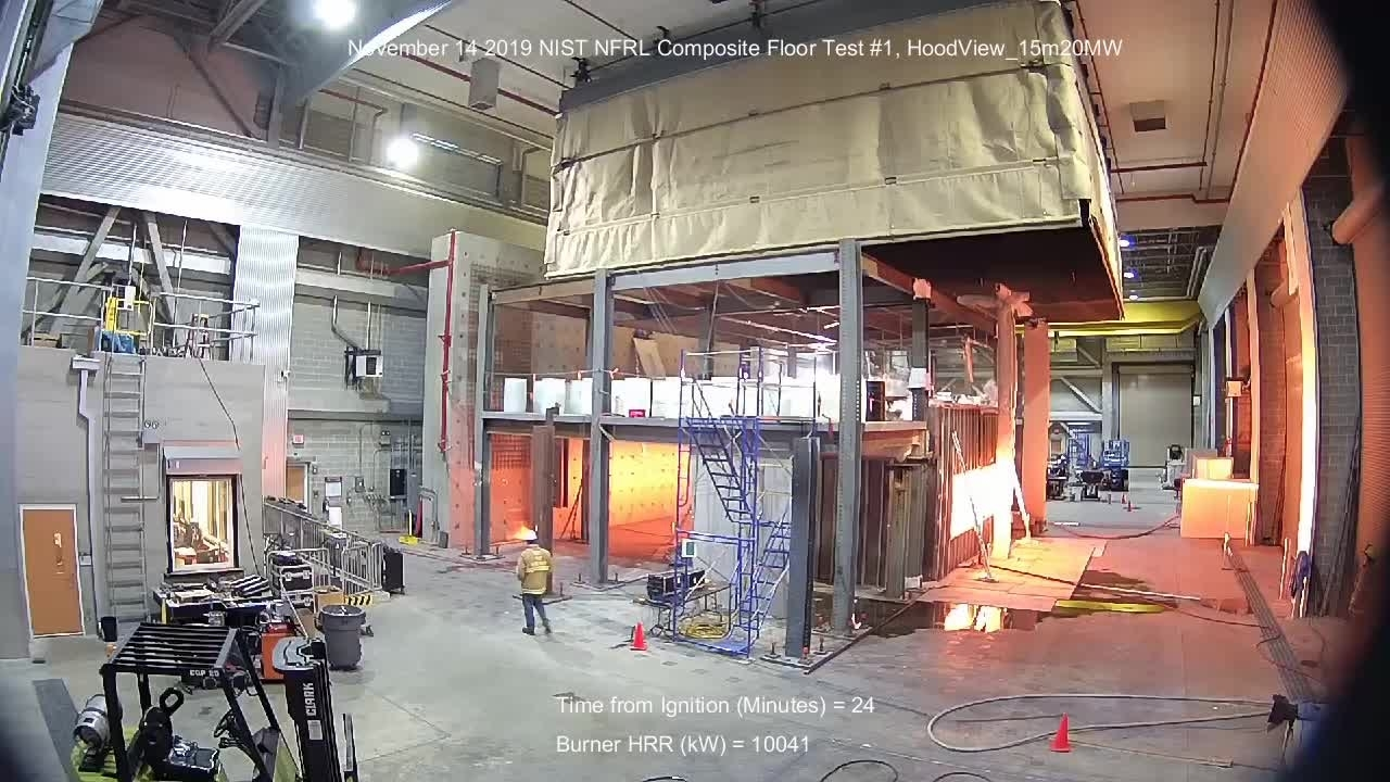 Fire Resilience of a Full-Scale Steel-Concrete Composite Floor System with 2-Hour Fire-Resistance Designed using U.S. Prescriptive Approach - Isometric View from West