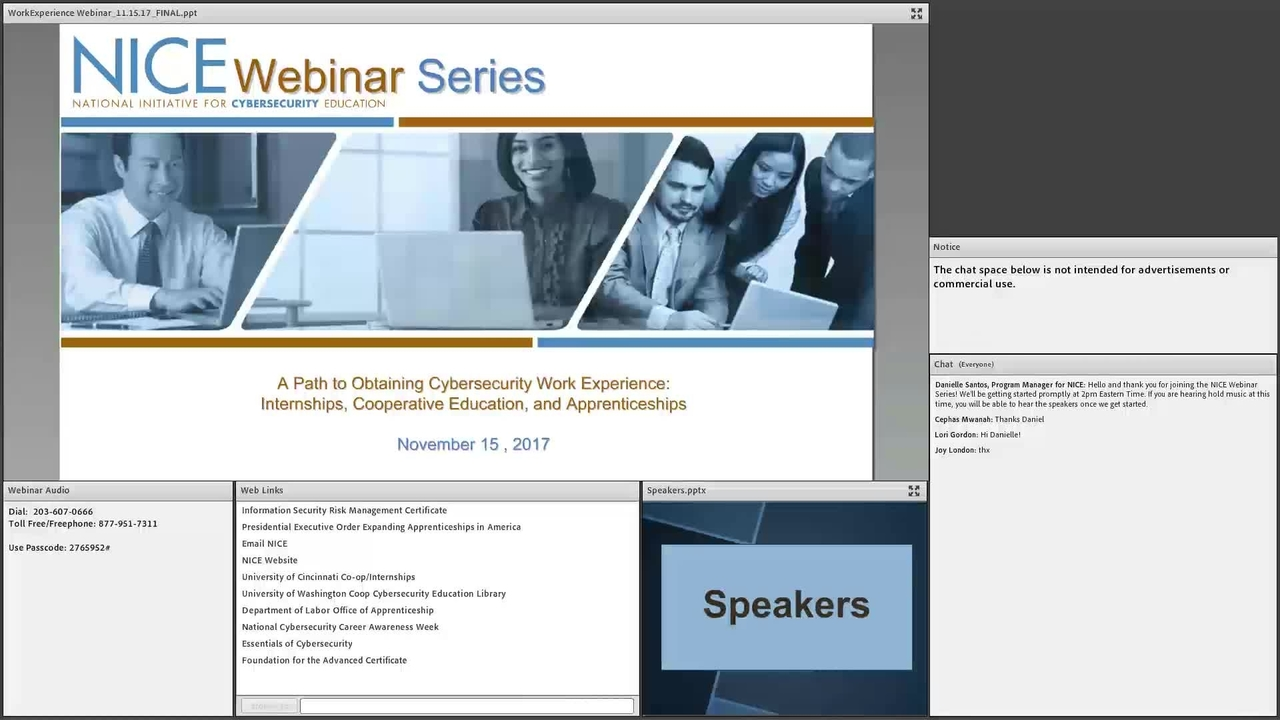 NICE Webinar: A Path to Obtaining Cybersecurity Work Experience Internships, Cooperative Education, and Apprenticeships