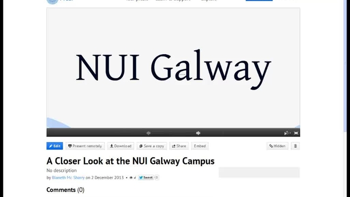 Video Walk-through of the NUI Galway Prezi