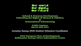 Thumbnail for entry Ballinasloe ED-Library -Our World, Our Dignity, Our future Seminar' Lorraine Tansey,  NUIG