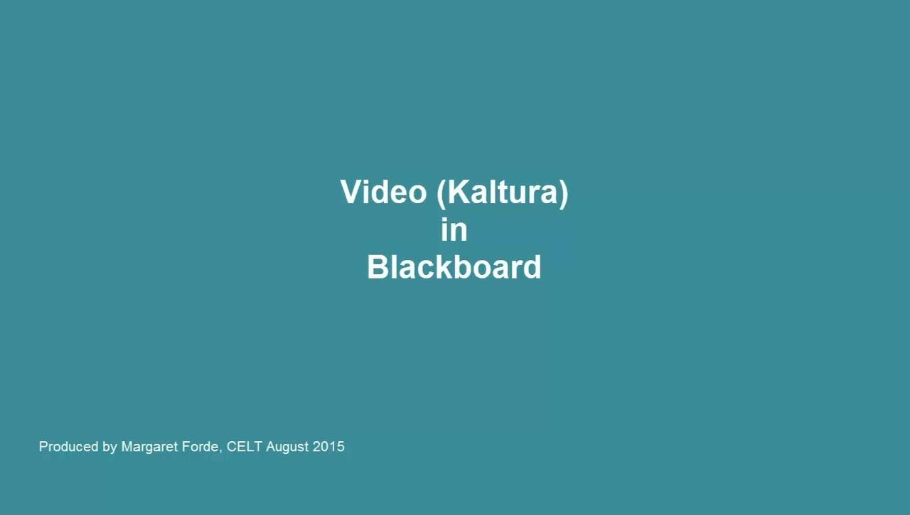 Kaltura (Video) in Blackboard